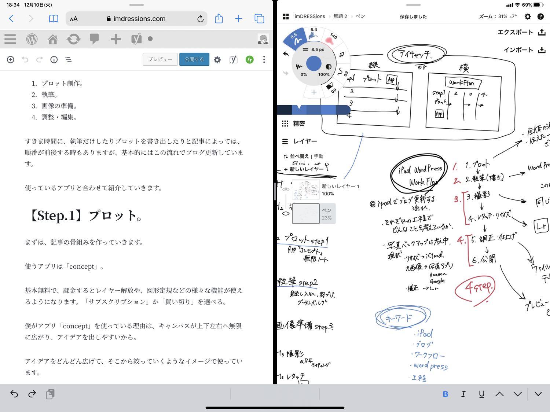 プロットとグーテンベルグを並べて執筆。