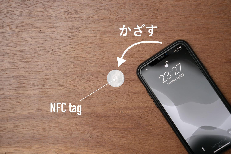 NFCタグでかざして家電を操作。